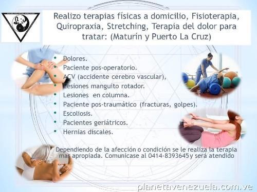 Realizo terapias físicas a domicilio, Fisioterapia..